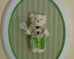 Quadrinho Oval Verde-Ursinho c/ Raquete