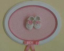 Quadrinho Oval Rosa Floral - Sapatinho