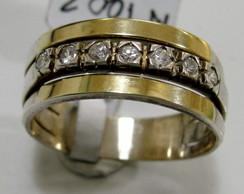 Anel Em Prata 925 E Ouro Pedras - A1002