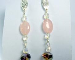 Brinco quartzo rosa folheado prata