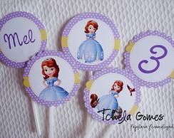 Topper para cupcake Princesinha Sofia