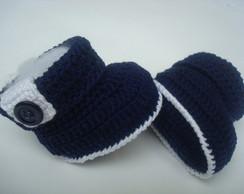 botinha de croche azul marinho