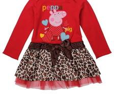 Vestido Peppa Pig Leopardo Manga Longa
