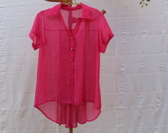 Camisa Feminina Pink Plissada