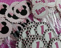 Tags / Toppers para doces - Minnie Rosa