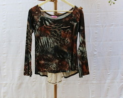 Blusa Animal Print com Renda e Corrente