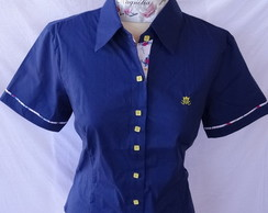 Camisa feminina manga Curta Azul Royal