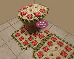 Jogo de Banheiro Flores Gerbera Rosa