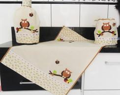 Kit Cozinha: corujas - Escolha sua cor!