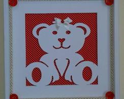 Quadrinho Vazado - Ursinha Vermelho