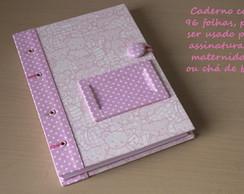 Caderno Capa Dura Ursinhos Rosa