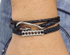 Kit pulseiras de couro anzol e metal