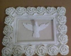 quadro esp�rito santo moldura floral