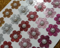 55 adesivos flor glitter miolo de p�rola