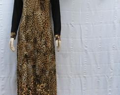Vestido longo Animal Print com Tule