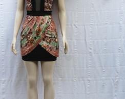 Vestido Estampado com detalhe em Tule