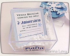 Convite Frozen - Acr�lico com Neve