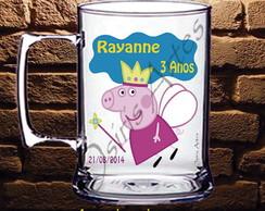 Caneca Acr�lico Peppa Pig Fada Madrinha