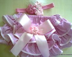 calcinha tapa fraldas e tiara