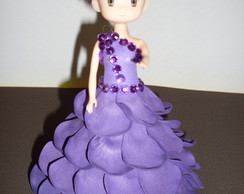 Mini Boneca Com Vestido De Eva - Roxa