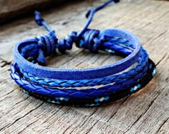 Pulseira Couro Cartha Azul