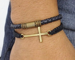 Kit pulseira masculina couro e crucifixo