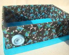Caixa aberta floral azul