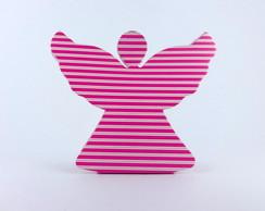 Caixa Anjinho - Listrado Rosa e Branco