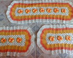 Jogo de tapetes laranja - pronta entrega