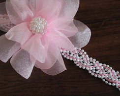 head band tran�ado perola e rosa