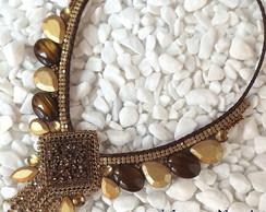 Maxi Colar Marrom/Dourado com Franjas