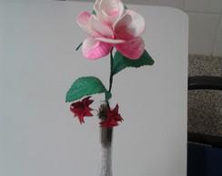 Vaso solit�rio calandra branco com rosa