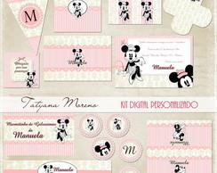 Kit digital festa minnie rosa vintage
