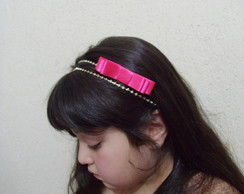 Faixa MARI strass c/la�o rosa pink