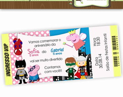 Convite Duplo Peppa Pig e Her�is