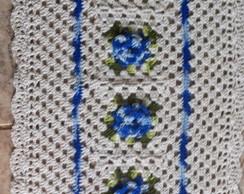 Tapete de barbante em croch� com flores