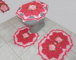 Jogo de banheiro Flor de Cerejeira Rosa