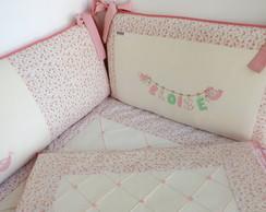 Kit Ber�o Floral - Rosa e Palha