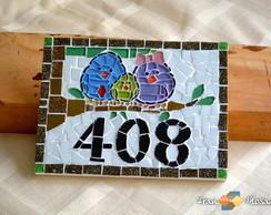 Placa N�mero De Casa Mosaico | P�ssaros
