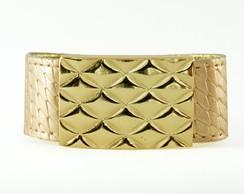 Bracelete Dourado Placa Escamas