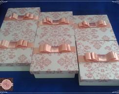 Caixa MDF pintada e forrada de tecido