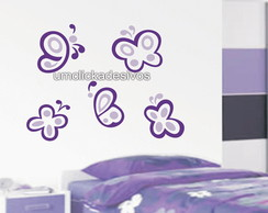 Adesivo 7 borboletas coloridas -tam G