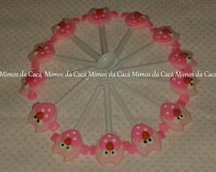 Colherzinha de brigadeiro corujinha rosa
