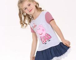 Vestido Peppa Pig Jeans Renda
