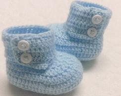 Botinha de croche para bebe azul