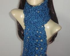 Cachecol feminino em tric� e croch�.