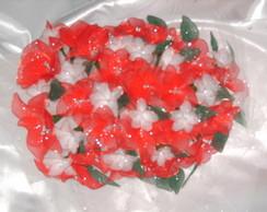Buqu� em meia de seda vermelho e branco