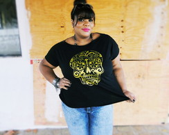 T-shirt Plus Size Caveira Mexicana
