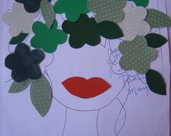 Aplique Cabe�a de Flores verdes