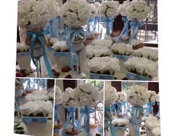 Kit festa rosas brancas & fita azul bebe
